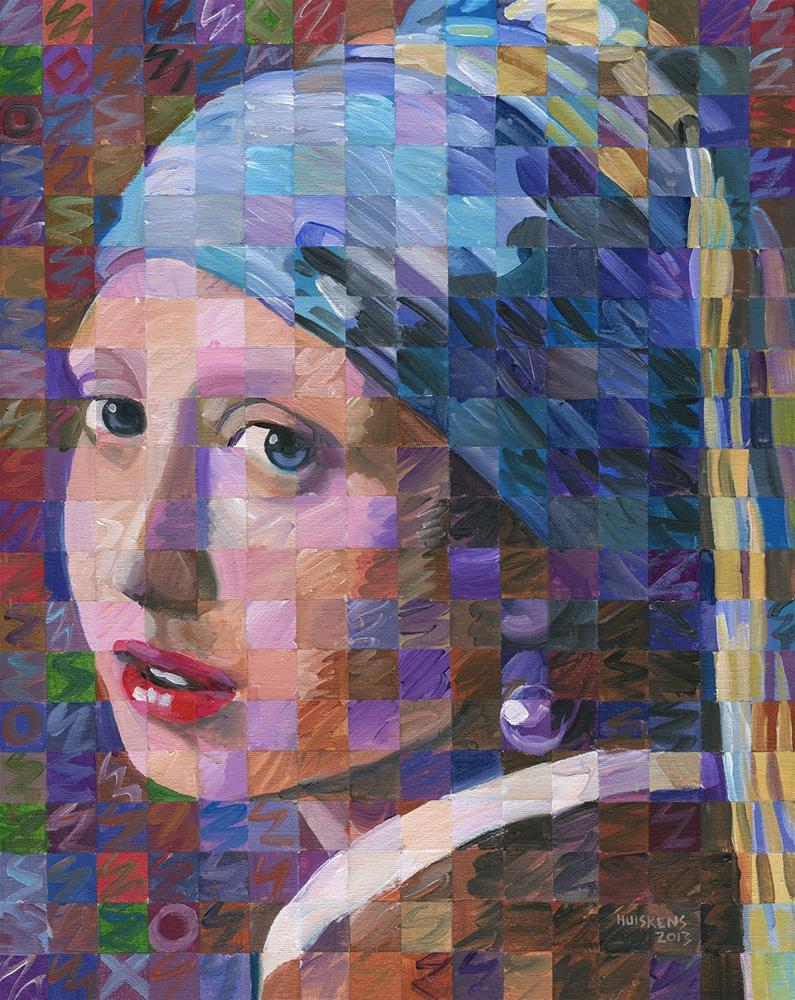 """""""Girl With A Pearl Earring (Variation On Vermeer)"""" original fine art by Randal Huiskens"""