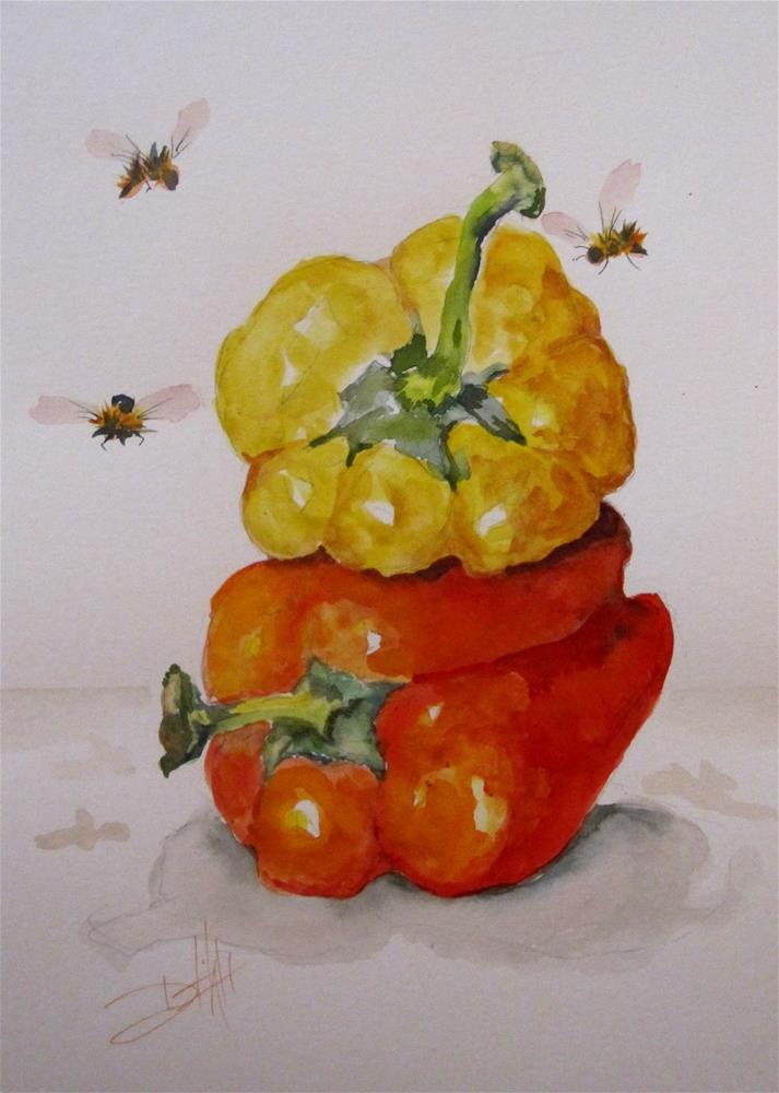 """""""Yellow and Red Pepper"""" original fine art by Delilah Smith"""