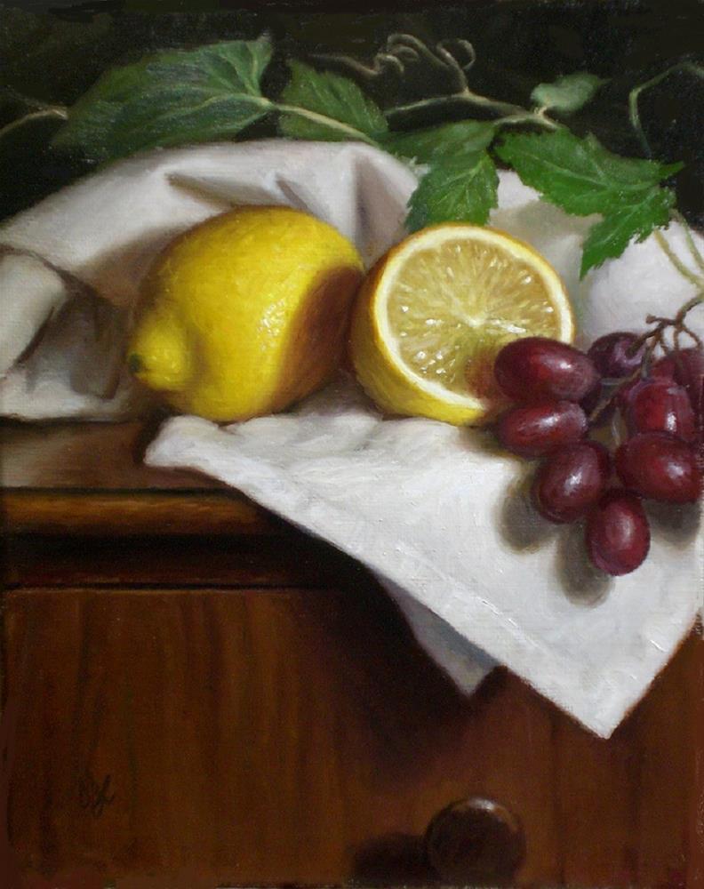 """Lemons with Grapes and Leaves"" original fine art by Debra Becks Cooper"