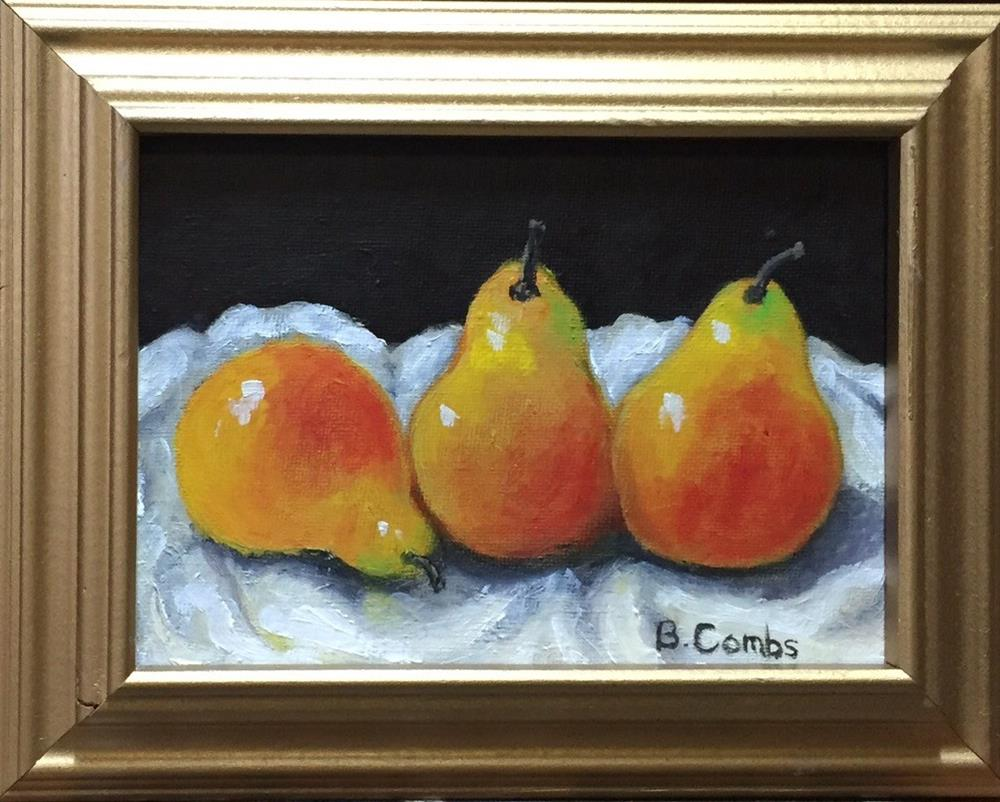 """Pears on Cloth"" original fine art by Bebe Combs"