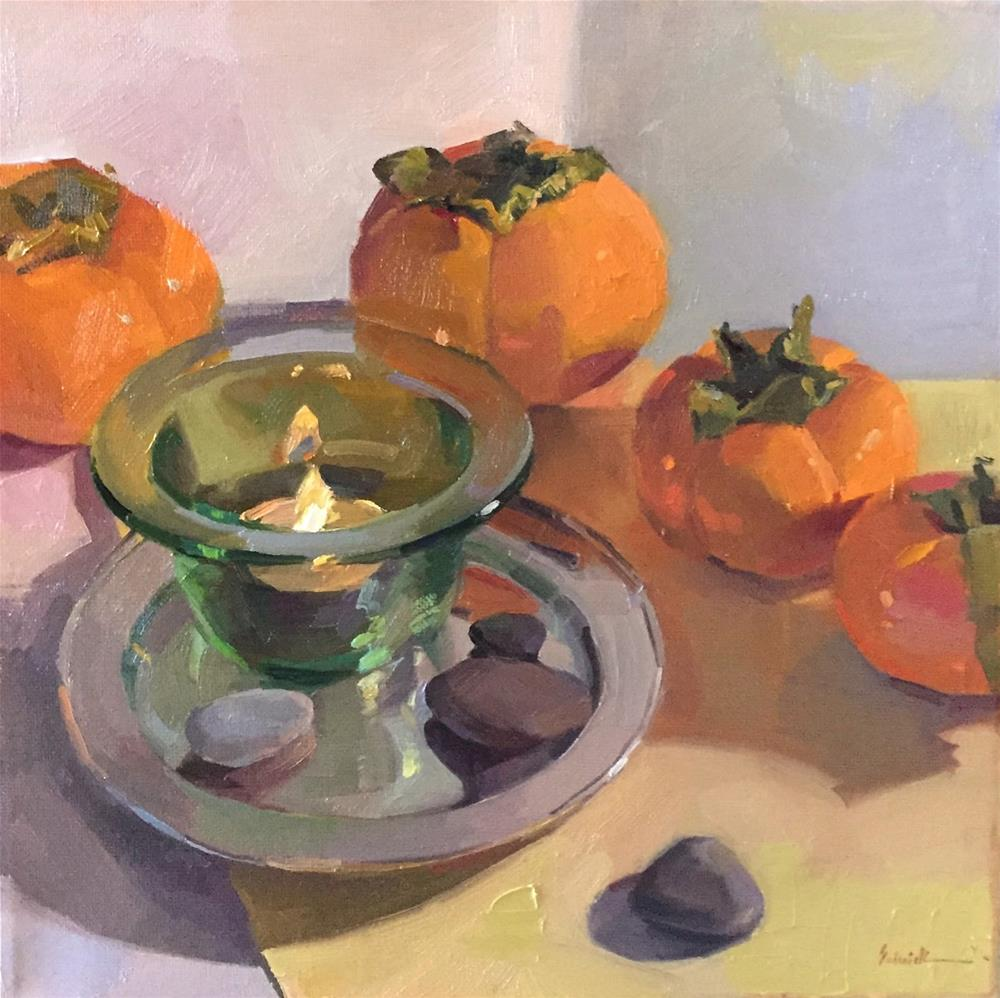 """""""Candle In Glass (Persimmons)"""" original fine art by Sarah Sedwick"""