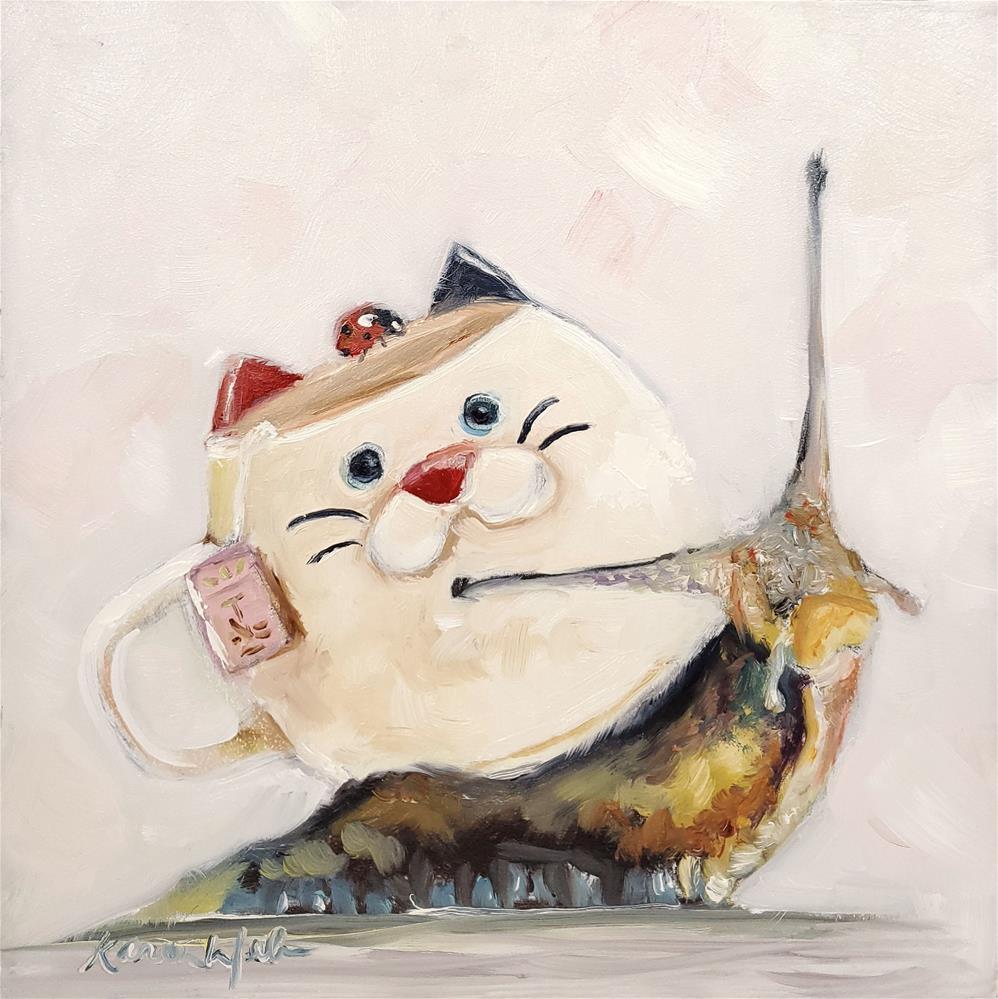 """Slow down and drink Tea"" original fine art by Karen Weber"