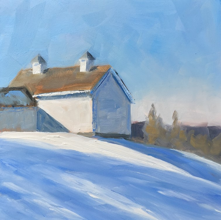 """#122 - Hilltop Farm in Winter"" original fine art by Sara Gray"