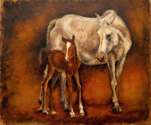 """Mare and foal"" original fine art by Karen Robinson"
