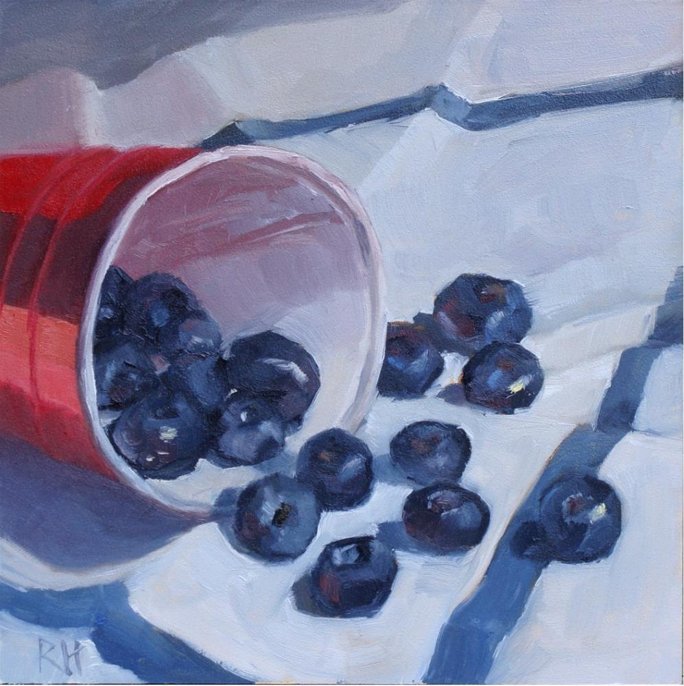 """""""Red, White, and Blueberries"""" original fine art by Rebecca Helton"""
