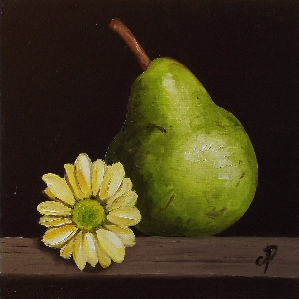 """Pear with Flower"" original fine art by Jane Palmer"