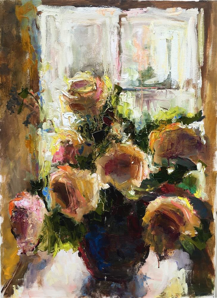 """""""Afternoon Roses"""" original fine art by pepa sand"""