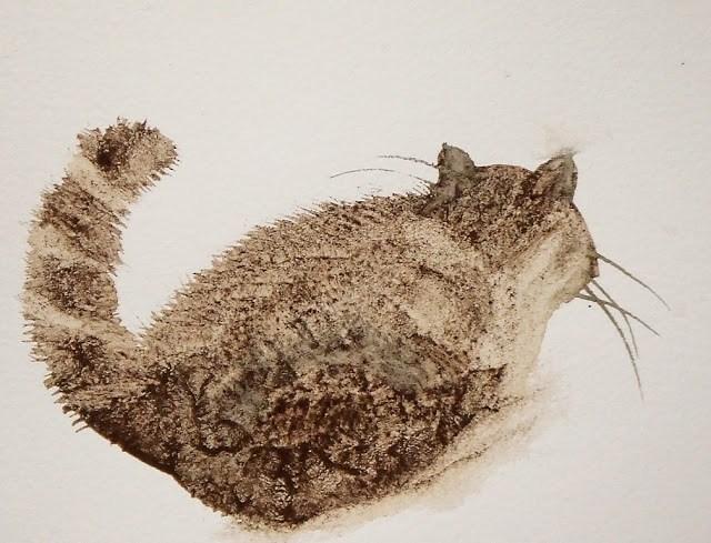 """""""Coffee cat"""" original fine art by Mitsuru Cope"""