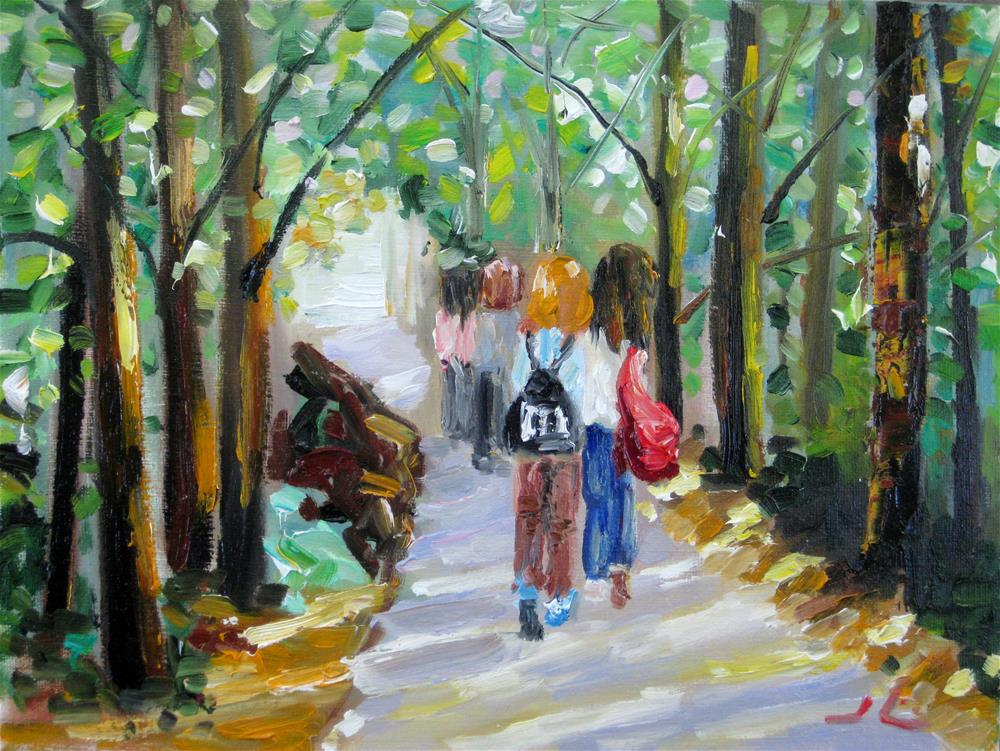 """Walk to School "" original fine art by Julia Lu"