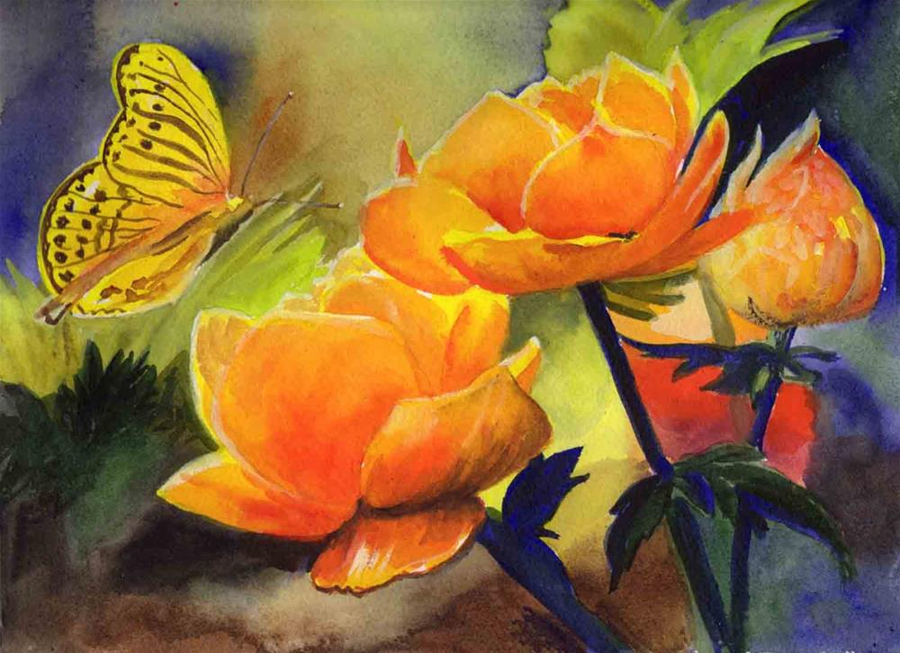 """Brilliant Flower and Butterfly"" original fine art by Bunny Griffeth"