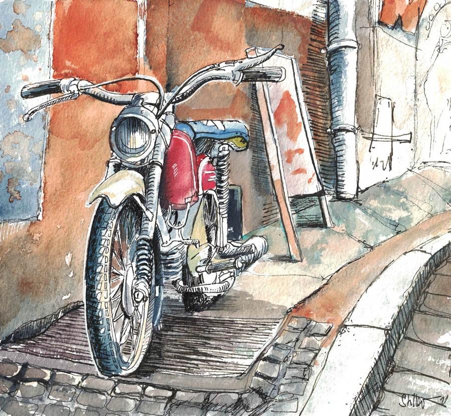 """""""3061 MopedSketch"""" original fine art by Dietmar Stiller"""