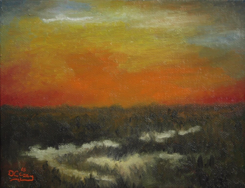"""""""Morning on the Marsh 001a 6×8 oil on canvas panel – Dave The Daily Painter"""" original fine art by Dave Casey"""