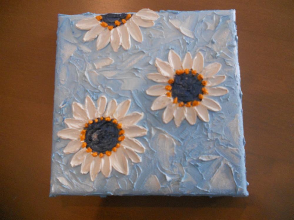 """""""Impasto White Daisy"""" original fine art by Pamela Ross"""