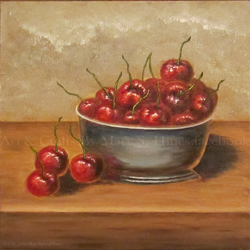 """Bowl of Cherries v1"" original fine art by Mary Sylvia Hines"