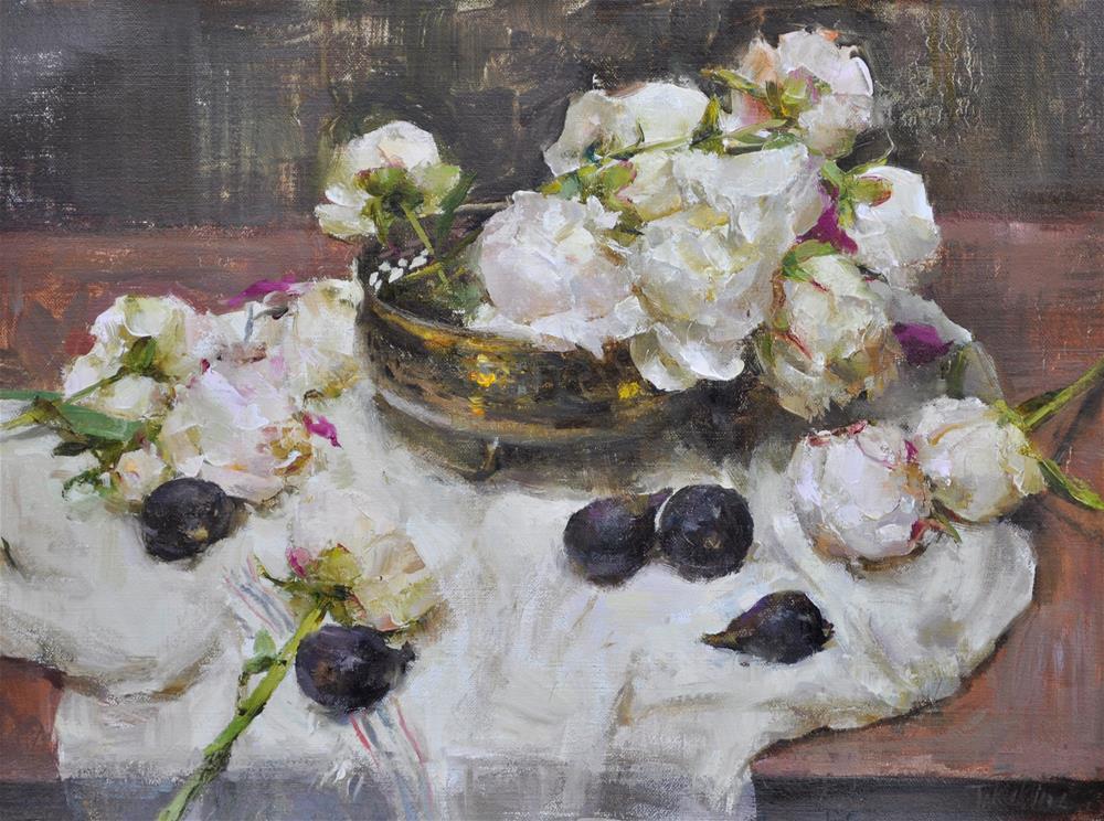"""peonies and figs"" original fine art by Taisia Kuklina"