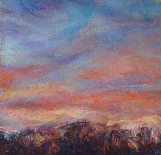 """ORANGE + BLUE RIBBONS - 5 x 5 pastel by Susan Roden"" original fine art by Susan Roden"