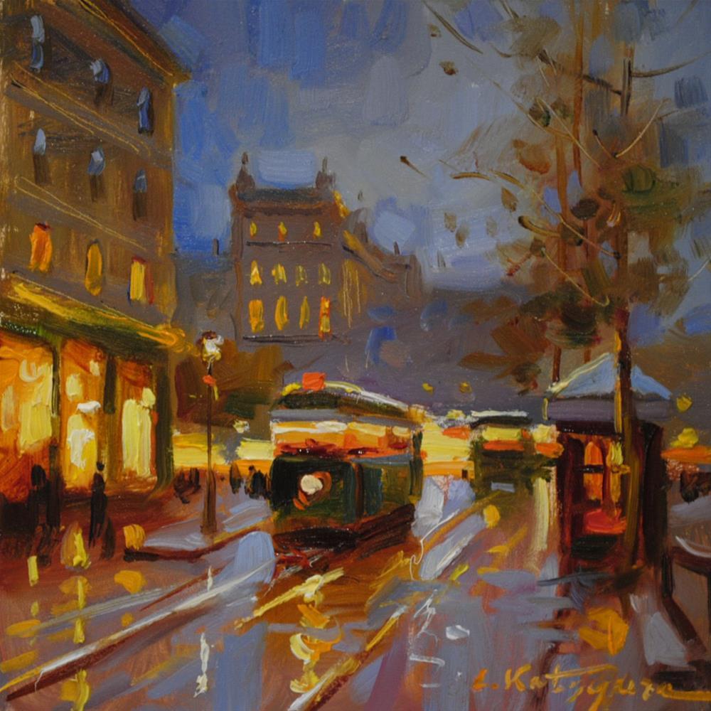 """Night Cable Car"" original fine art by Elena Katsyura"