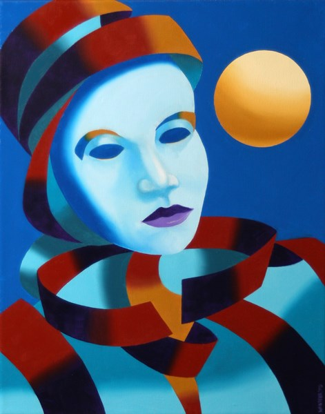 """""""Mark Webster - Abstract Blue Mask with Gold Sphere Oil Painting"""" original fine art by Mark Webster"""