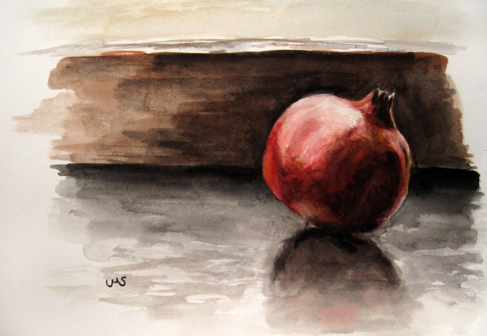 """Pomegranate at a grey Day"" original fine art by Ulrike Miesen-Schuermann"