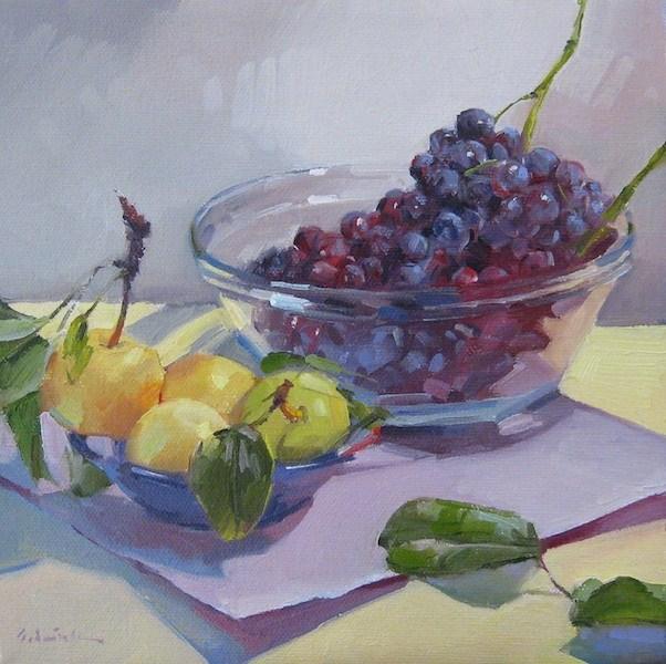 """Grapes and Asian Pears fruit bowl painting fine art still life original oil"" original fine art by Sarah Sedwick"
