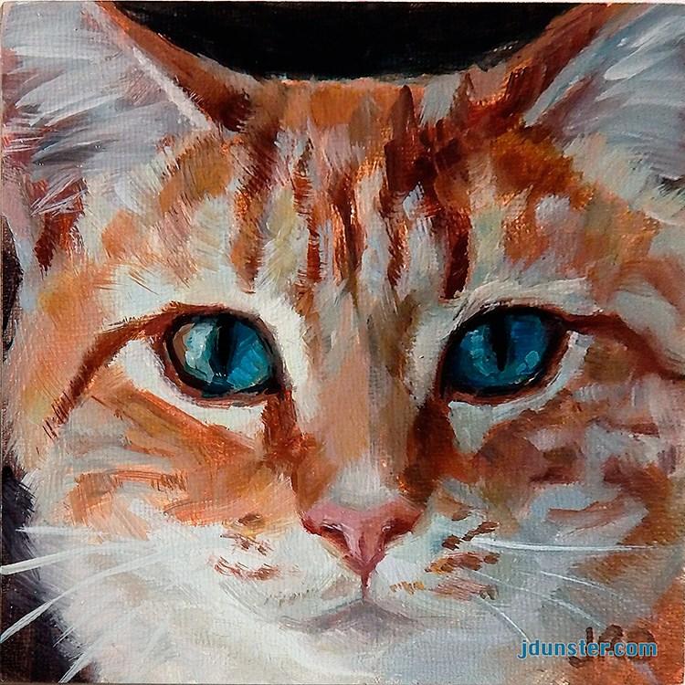"""Orange Kitty Head"" original fine art by J. Dunster"