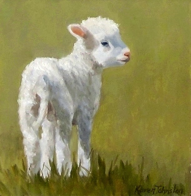 """""""Mary's Lamb"""" original fine art by Karen Johnston"""