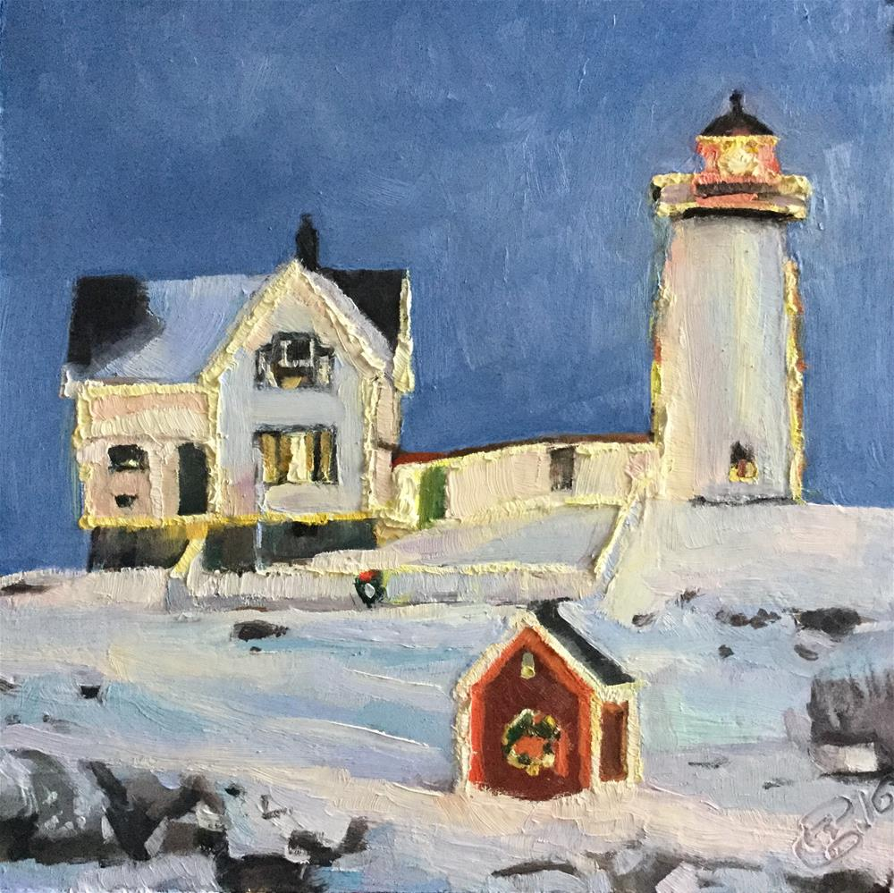 """""""Christmas at Nubble Lighthouse"""" original fine art by Paula Howson-Green"""