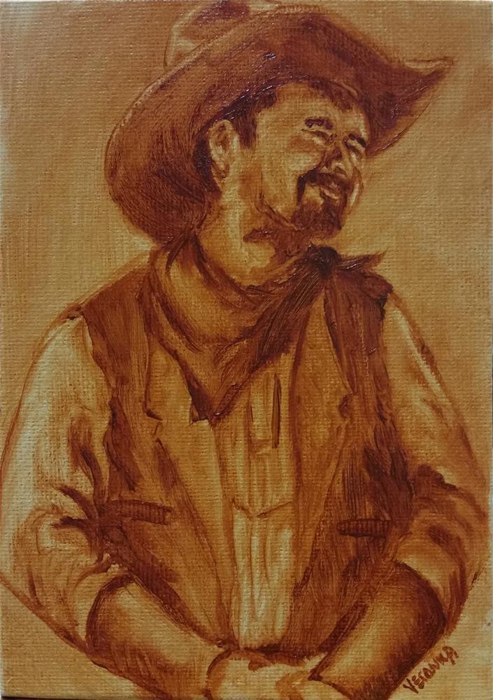 """Cowboy"" original fine art by Veronica Brown"