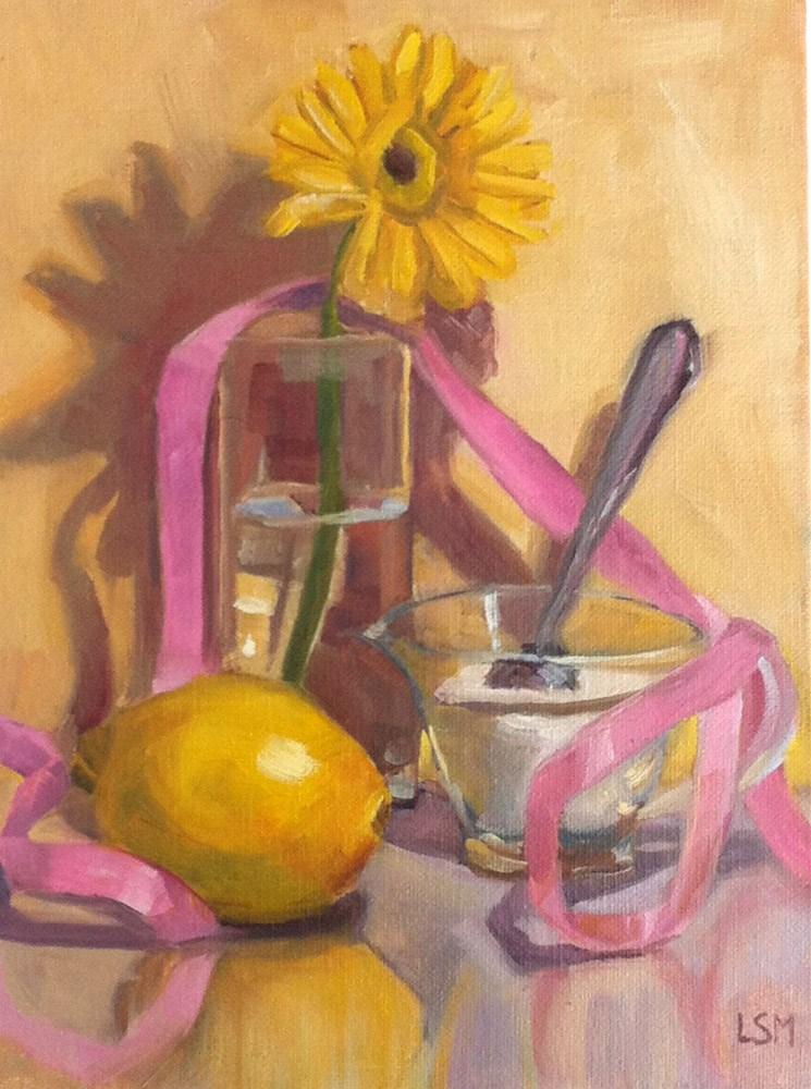 """Lemon Yelllow and Pink Ribbon"" original fine art by Linda Marino"