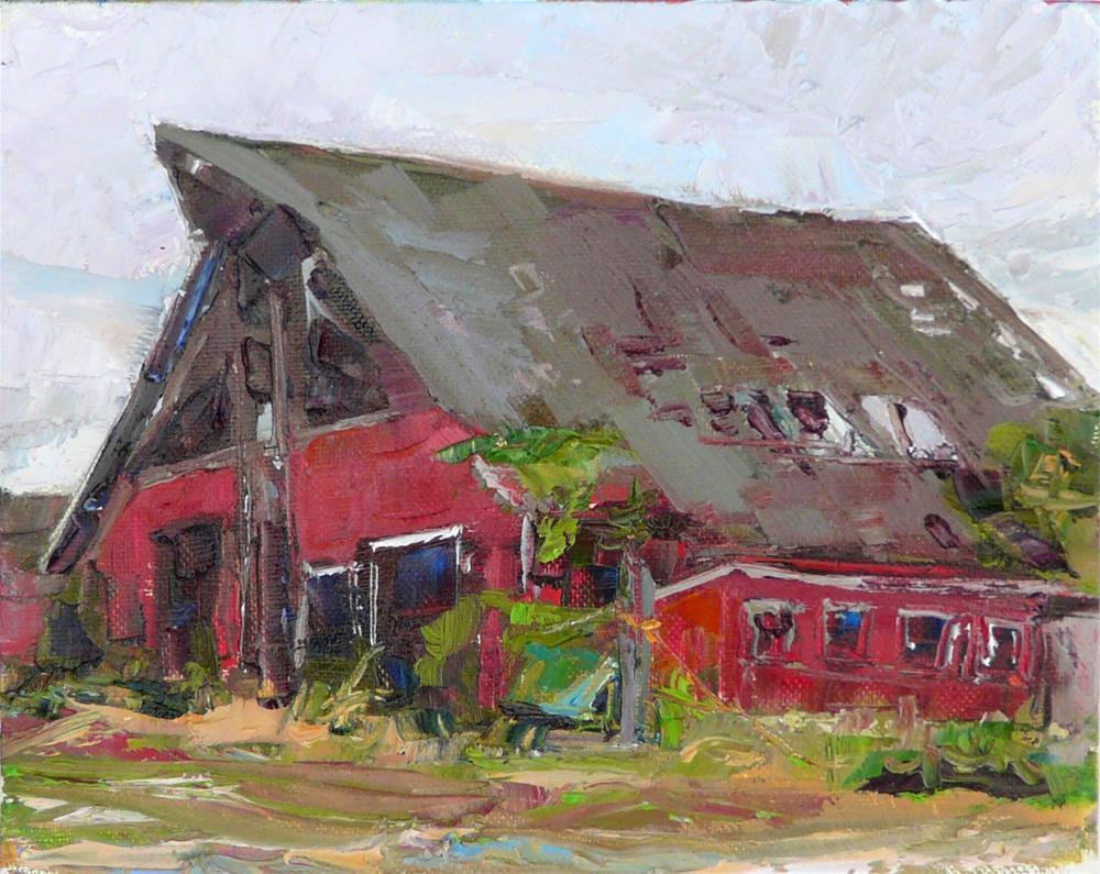"""Old Barn in Stanwood,landscape,oil on canvas,8x10,price$225"" original fine art by Joy Olney"