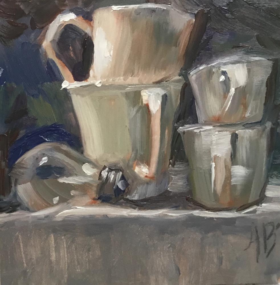 """White cups excercise study #2"" original fine art by Annette Balesteri"