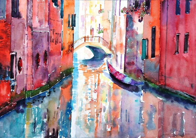 """""""Venice in love-3"""" original fine art by Lisa Fu"""
