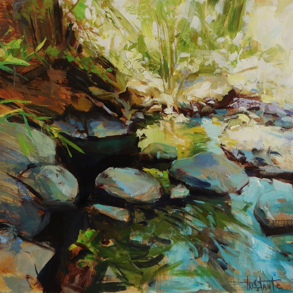 """Rocky river"" original fine art by Víctor Tristante"