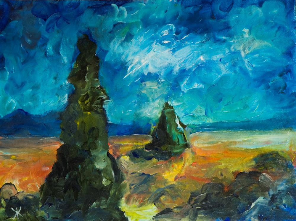 """""""Landscape with Sypresses"""" original fine art by Yulia Kazansky"""