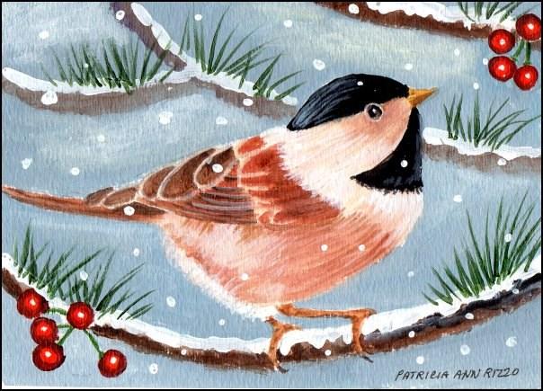 """""""Tiny Chickadee"""" original fine art by Patricia Ann Rizzo"""