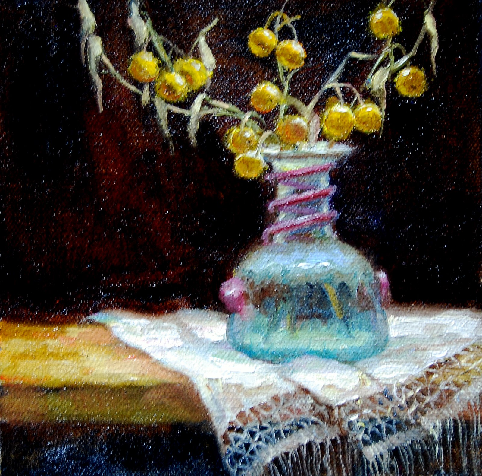 """""""Ancient Glass with Berries"""" original fine art by Julie Ford Oliver"""