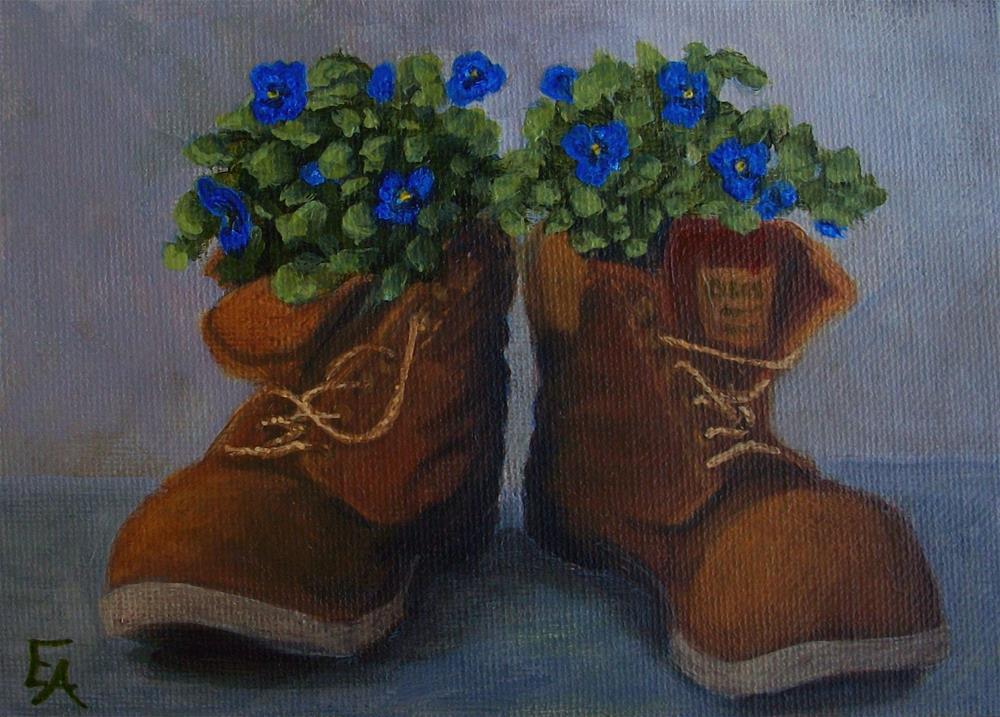"""30 in 30 Challenge: Boots and Pansies"" original fine art by Elizabeth Elgin"