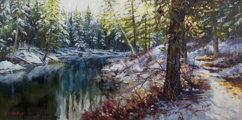 """Round Lake II"" original fine art by Leona Fox"