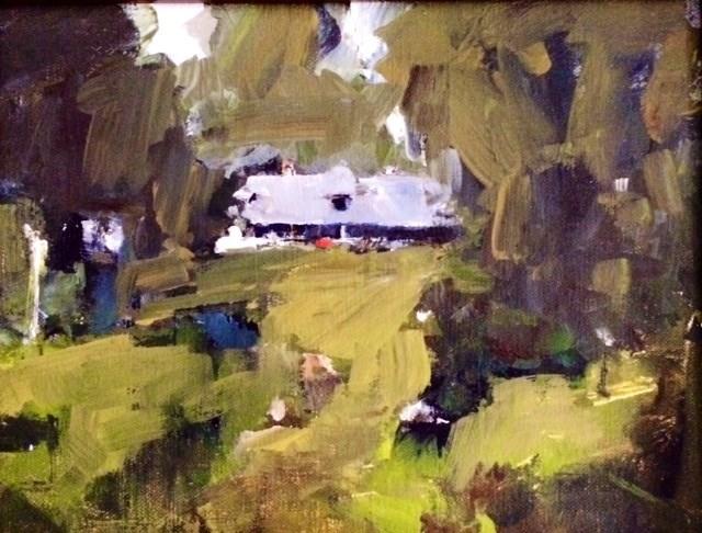 """Lakehouse In The Woods 8x12 oil 2014"" original fine art by Deborah R Hill"