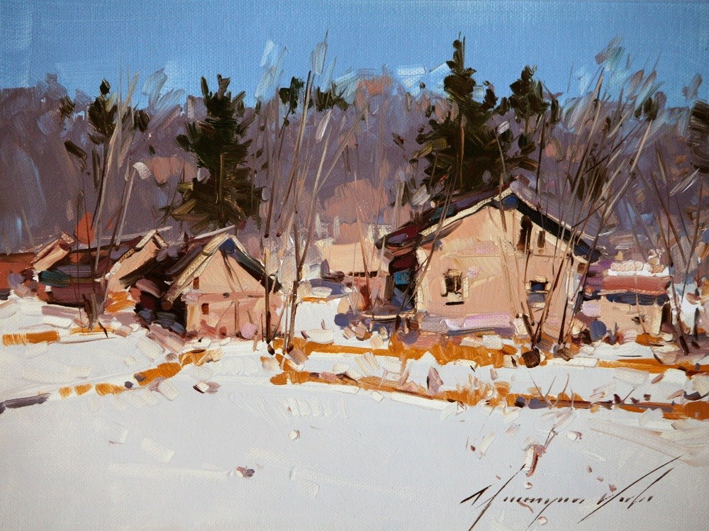 """""""VILLAGE WAY WINTER ORIGINAL OIL PAINTING ON CANVAS HANDMADE ONE OF A KIND"""" original fine art by V Y"""