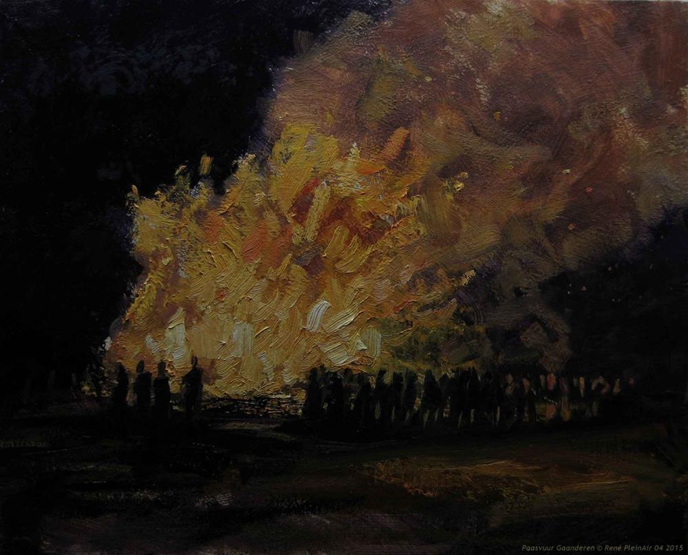 """Easterbonfire Gaanderen The Netherlands"" original fine art by René PleinAir"