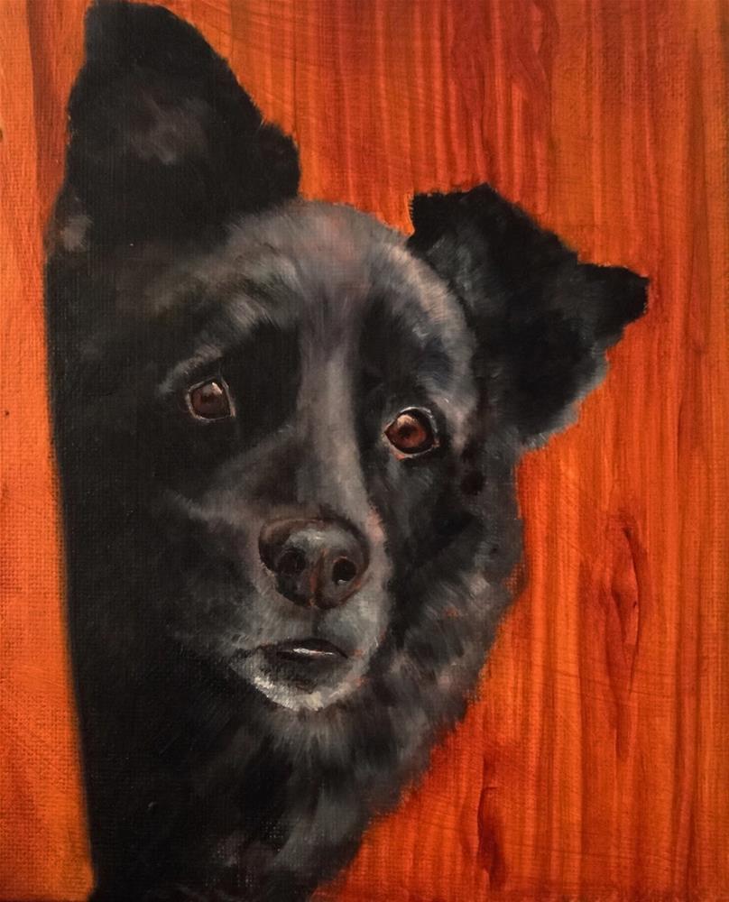 """Portrait of a black dog (1)"" original fine art by Karen Robinson"