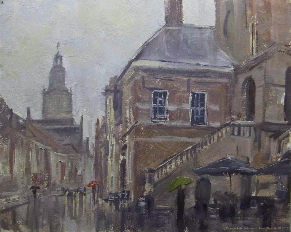 """Rainy. Zutphen, The Netherlands"" original fine art by René PleinAir"