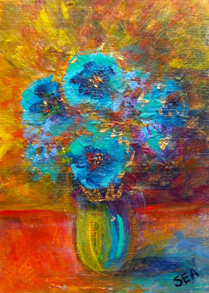 """""""3271 - HIMALAYAN BLUE POPPIES - ACEO Series"""" original fine art by Sea Dean"""