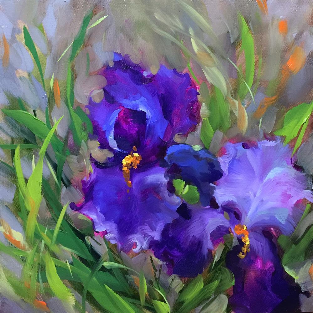 """""""Blue Ballet Iris Garden"""" original fine art by Nancy Medina"""