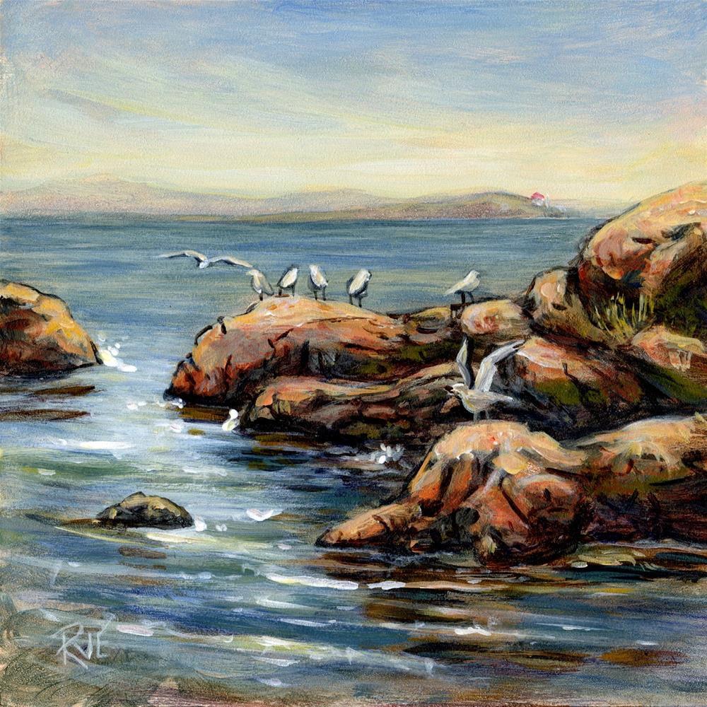 """#98View to Trial Island"" original fine art by Ruth Van Egmond"