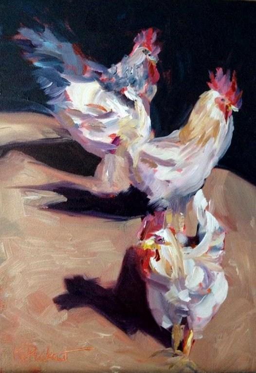 """""""Hens"""" original fine art by Kristen Dukat"""