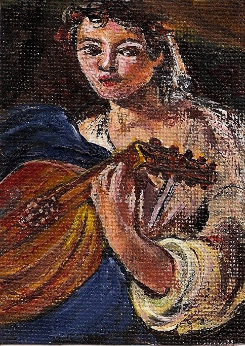"""ACEO Lute Player in the style of Caravaggio Miniature Masters Penny StewArt"" original fine art by Penny Lee StewArt"