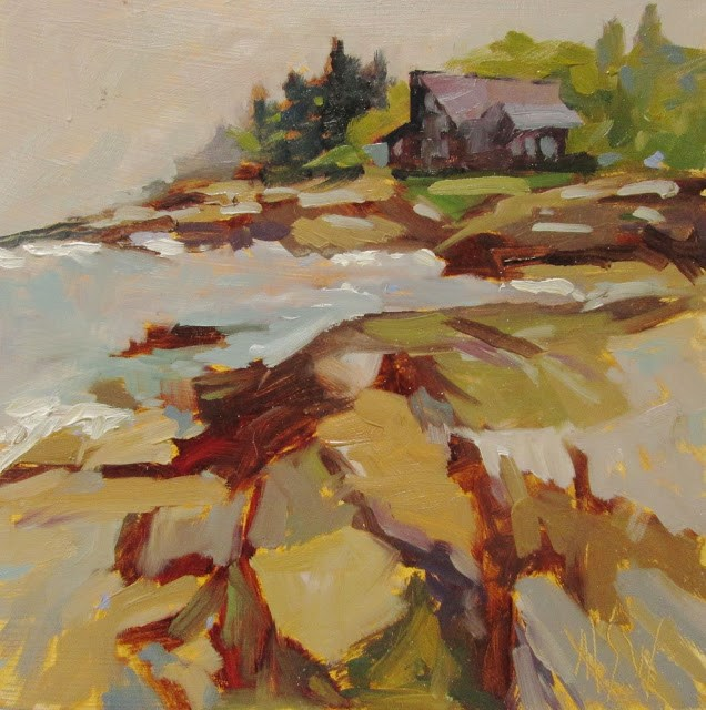 """""""Jetty Study Painted off the back shore of New Harbor on my recent painting retreat."""" original fine art by Mary Sheehan Winn"""