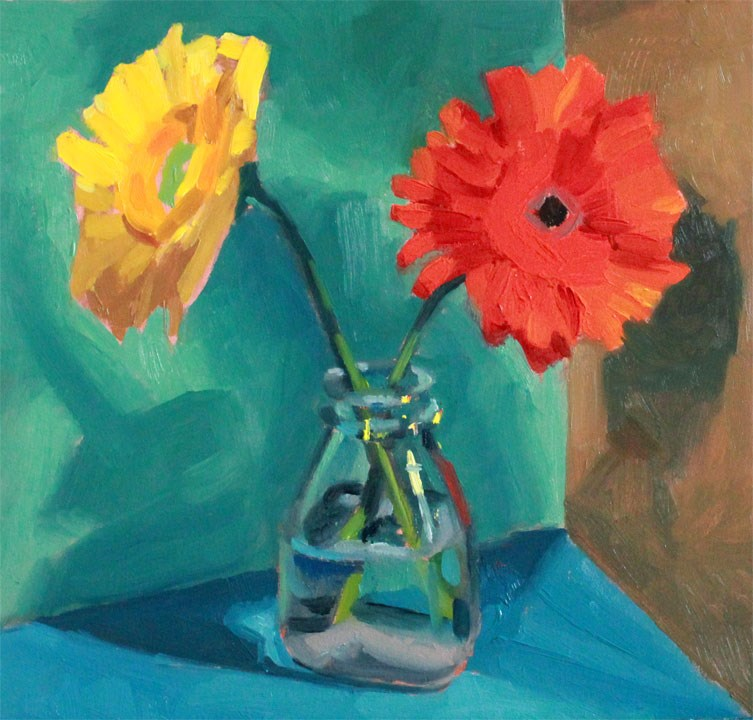 """Daisy Duo"" original fine art by Nealy May Riley"